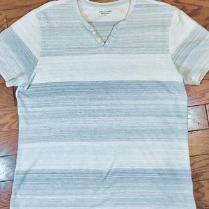 STRUCTURE Men's S/S Crew/V-Neck Striped Top, Sz L